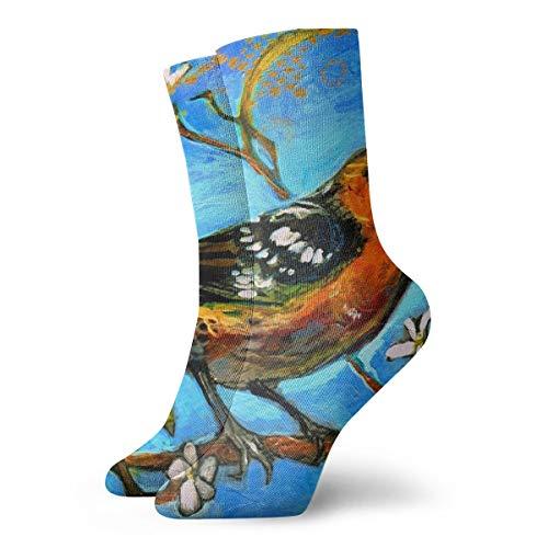 Ye Hua Fun Socken-Black Headed Grosbeak Malerei Kunst gedruckt lustige Neuheit Tier lässig Baumwolle Crew Socken 11.8inch