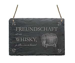 schiefertafel schild freundschaft ist wie whisky mit motiv spruch haushalt dekoschild. Black Bedroom Furniture Sets. Home Design Ideas