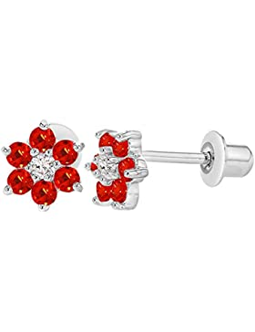 In Season Jewelry Kleinkind Mädchen - Schraubverschluss Ohrringe Blume Rhodiniert Heiße Rote CZ Zirkonia