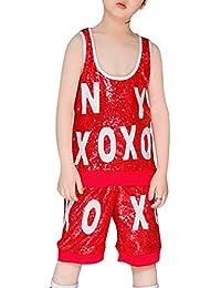 59fe3ac3bfefb Yudesun Ropa Danza Niña Vestidos - Niño Adulto Jazz Hip Hop Moderno  Disfraces Lentejuelas Trajes Conjuntos