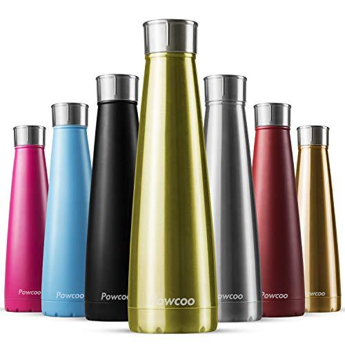 Powcoo, Borraccia da 500 ml, in Acciaio Inox Senza BPA, isolata sottovuoto, per 24 Ore di Freddo e 12 Ore di Caldo, a Doppia Parete, per Sport, Corsa, Campeggio, Ciclismo, Palestra, Gold