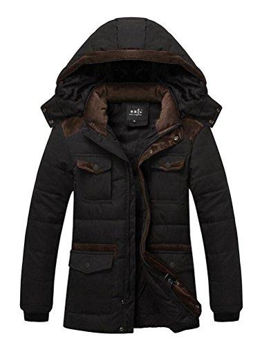 Vogstyle Herren Kapuzenparka Winterjacke Winter Mantel Jacket mit Futter Warm Abnehmbare Hoodie Parka Wintermantel Herrenmantel Art 1 Schwarz