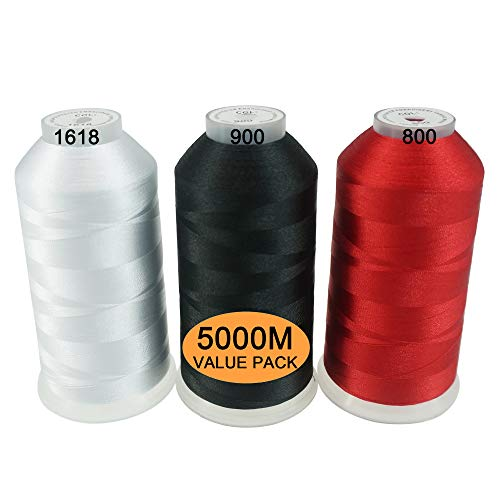 New brothread 3er Set Weiß/Schwarz/Rot Farben Polyester Maschinen Stickgarn Riesige Spule 5000M für alle Stickmaschine - Nähen Maschinen-industrielle