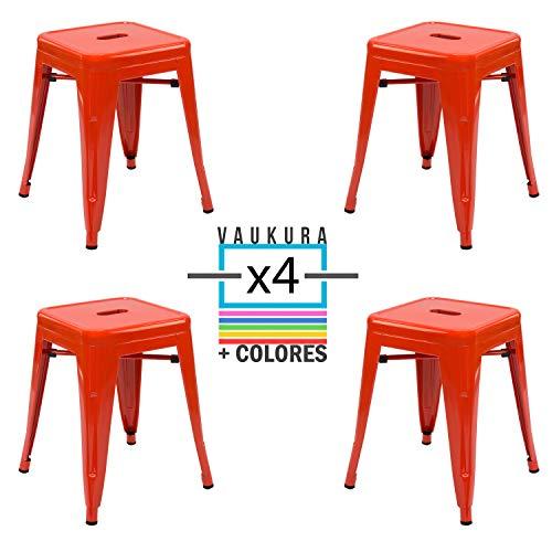 Vaukura Taburete Bajo Tolix (Pack 4) - Taburete Industrial Metálico Brillo (Rojo Coral)