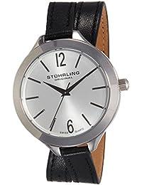 Stuhrling Original Leisure Deauville Sport - Reloj de cuarzo, para mujer con correa de cuero, color negro