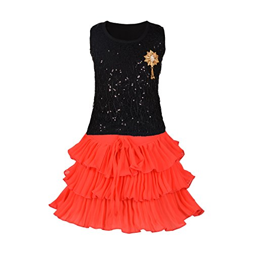 Aarika Girl's Self Design Birthday Special Top and Skirt Dress...