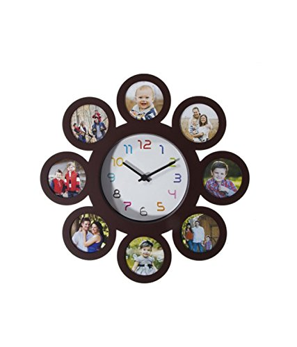 Noorstore Beautiful And Classy Analog Wall Clock with 8 circular pictures photo frame
