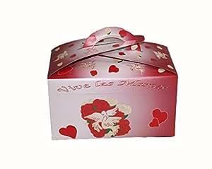 Urne ivoire et bordeaux ornée de colombes, coeurs et roses tirelire mariage [0319405]