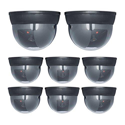 8 x Dummy Kamera im Sicherheits Set, Dome Kamera mit LED, verstellbarer Kamerawinkel, für außen und innen