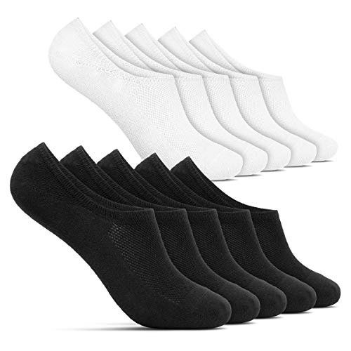 ROYALZ Sneaker Socken für Damen und Herren 10 Paar kurze unsichtbare Füßlinge - bequem modern atmungsaktiv, Größe Socken:43-46, Set:5 Paar/Schwarz   5 Paar/Weiß - Füßlinge-set