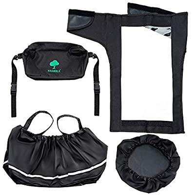 Accessory Pack of 4 for Mobility Scooters - Contains Tiller Cover - Basket Liner & Lid & Small Handy Bag - Protects Basket & Scooter Controls in Inclement Weather -Convenient Storage Wheelchair Pack
