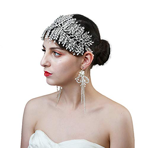 TOPQUEEN Damen Strass Hochzeit Stirnbänder Kristall Braut Haarbänder Tiara Kopfschmuck, Einzelnes Band Silber (HP238)