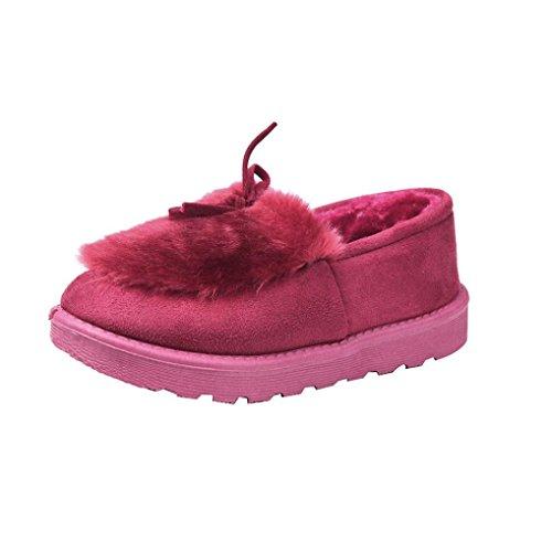 Transer® Damen Warm Weich Mokassins Casual Schuh Baumwolltuch+Gummi (Bitte achten Sie auf die Größentabelle. Bitte eine Nummer größer bestellen. Vielen Dank!) Wine