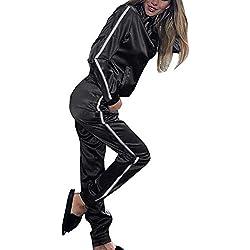 Minetom Femmes 2 Pièce Survêtement Combinaison Manches Longues Fermeture éclair Top + Pantalon Joggers Yoga Ensemble Combishorts de Sport Tracksuit Noir FR 38