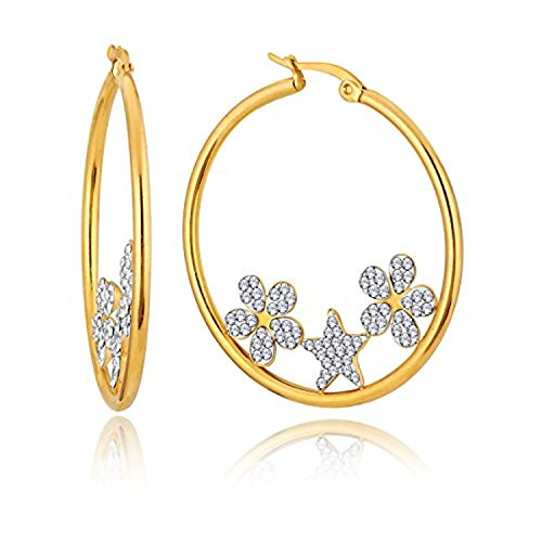 Generic Gold Plated CZ Stone Decoration Floral Star Big Round Hoop Earrings For Women ALER 5035 (Womens Star Big)