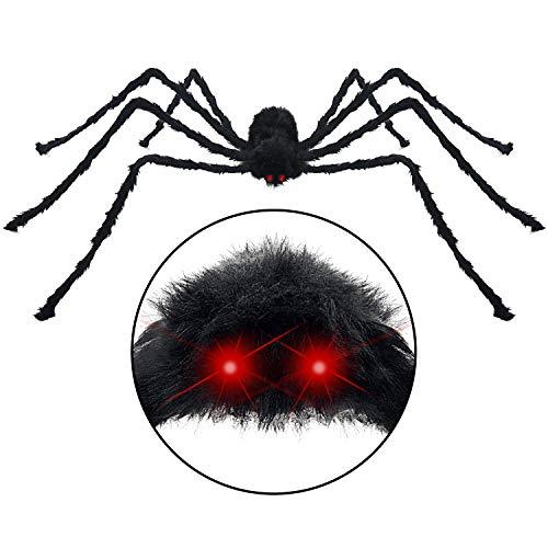 HOTSAN Große Halloween-Spinne, 127 cm, große Fake Spider Outdoor Halloween-Dekoration, Quake und Quietschen mit Gruseliger Stimme bei Berührung (Dekoration Spinne Große)