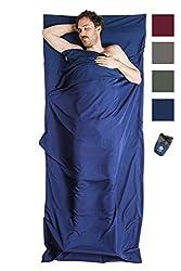 Bahidora Hüttenschlafsack aus Mikrofaser, Schlafsack Inlett, Schlafsack Inlay, Reiseschlafsack. Ideal für Hostels, Berghütten und Jugendherbergen (dunkelblau)