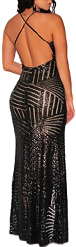 Abito elegante lungo schiena scoperta vestito paillettes cerimonia Nero