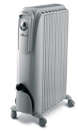 DeLonghi Dragon - Radiador de aceite, 1500 W, 3 posiciones, protección antiheladas, efecto chimenea, 36 x 16 x 64 cm, color blanco