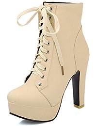 AgooLar Donna Luccichio Bassa Altezza Tacco Alto Puro Stivali con Nodo 174cd0ffea2