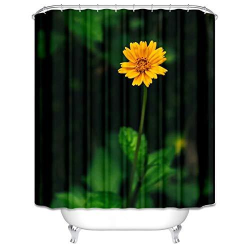 Amody Cortina de Ducha poliéster Tejido Mildew Resistente Patrón Floral Baño Cortinas de Ducha Tamaño 150x180CM