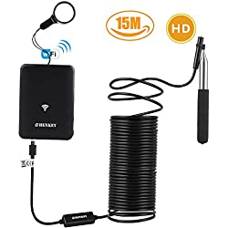 WiFi Endoscope, 49.2ft aBorescope for iPhone, Android with telescopic rod