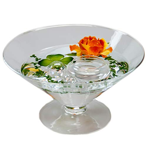 Cône en verre ronde-plateau-grand modèle-hauteur : 12 cm diamètre : 22 cm pointes-plat en verre sur pied avec décoration rose orange casablance design coupelle de glaskönig
