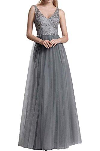 Victory Bridal Glamour Spitze Tuell Damen Abendkleider Promkleider Abiballkleider Bodenlang A-linie Rock Grau