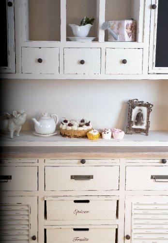 Massiver Vitrinenschrank, Küchenbuffet, Küchenschrank, Schrank, Buffetschrank für Küchen im Landhausstil und einzigartige Wohnideen, aus weißem Holz, Altweiß - Palazzo Exklusive - 3