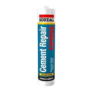 Soudal Cement Repair Express, Reparatur-Mörtel mit körniger Struktur, Farbe: Zement-Grau, Kartusche: 300ml