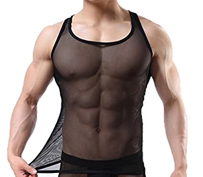 Ouye Men's Mesh See-through Tank Top Vest
