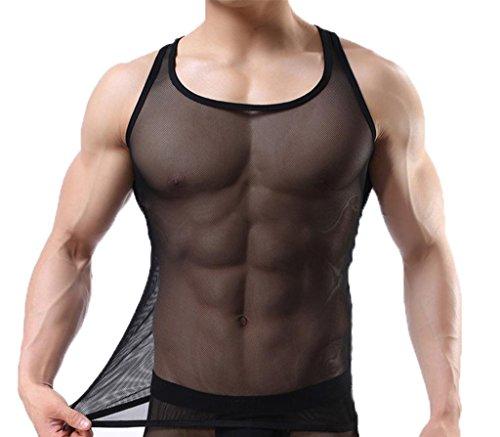 Ouye Uomo Sportivo Muscolo Canotta Vest Sexy Tank Top Nero