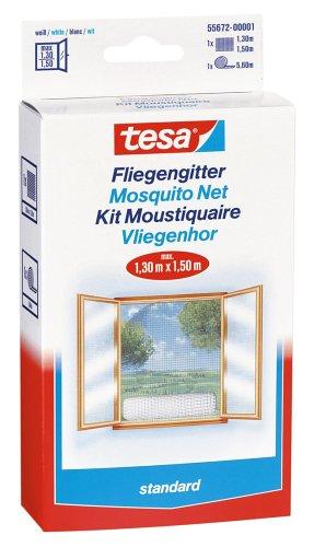 Tesa 55672-00020-01 insect stop zanzariere per finestre standard di 1,3 mx 1,5 m, bianco