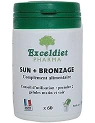 SUN + BRONZAGE - 60 gélules bronzantes Multi vitamines à la poudre de carotte et au Bixa pour un bronzage rapide et résistant. Exceldiet, la marque Verte.