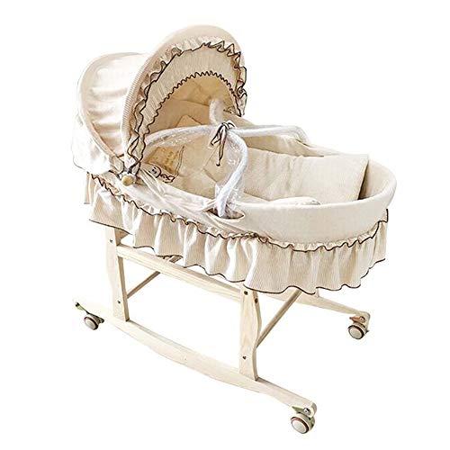 HYRL Tragbare Baby Korb Kinderbett, Mais Woven Basket + Auto Farbe Baumwolle Wiege, Multifunktionale Baby Korb Baby Babybett,Standardversion -