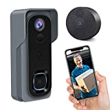 Video Doorbell, GEREE 1080P HD IP65 Waterproof WiFi Smart Wireless Doorbell Security Camera Real-time Two-Way Talk & Video,Night Vision,166°Wide Angle,PIR Motion Detection【2019 Newest Upgrade】