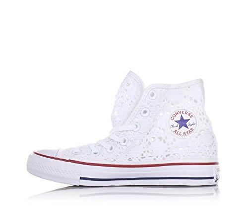 Converse 552998c, Chuck Taylor Hi Crochet femme Optic White