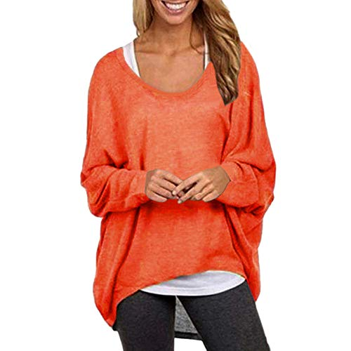 Tohole Damen Lose Asymmetrisch Sweatshirt Pullover Bluse Oberteile Oversized Tops T-Shirt -