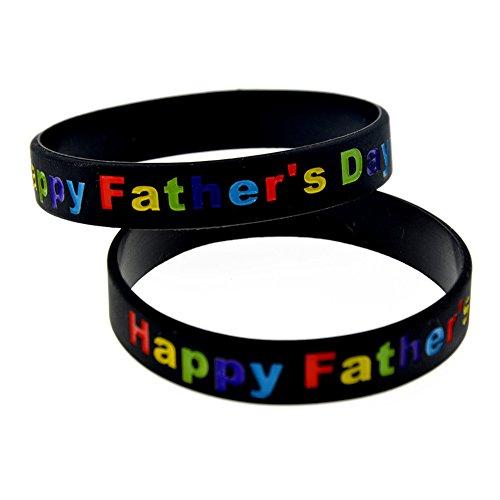 LiFashion LF Herren Black Rubber Silikon Dad's Armband Happy Vatertag graviert Armband für Vatertag Geschenk von Sohn Tochter Kinder für Outdoor Sport Aktivitäten