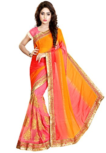 Nivah Fashion Women's Chifon Net Embroidery Saree (Yellow)