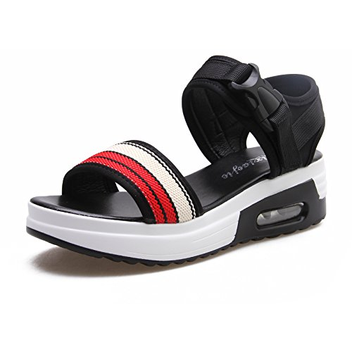 Xing Lin Ladies Sandals Summer Sports Sandals Cushion Thick Students Casual Shoes Flat Open Toe Velcro Shoes red