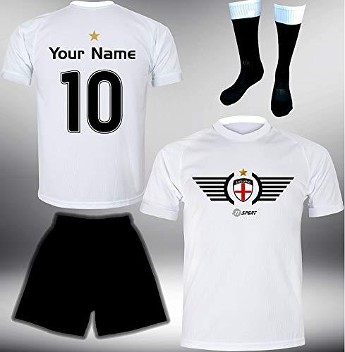 ElevenSports England Trikot Set 2018 mit Hose & Stutzen GRATIS Wunschname + Nummer im EM WM Weiss Typ #EN2ths - Geschenke für Kinder Erw. Jungen Baby Fußball T-Shirt Bedrucken