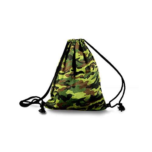 if she Stoffbeutel Rucksack Turnbeutel Sportbeutel Army Military Camouflage Tarnfarben zwei Farbdesigns erhältlich, Farbe:Grün, Größe:One Size