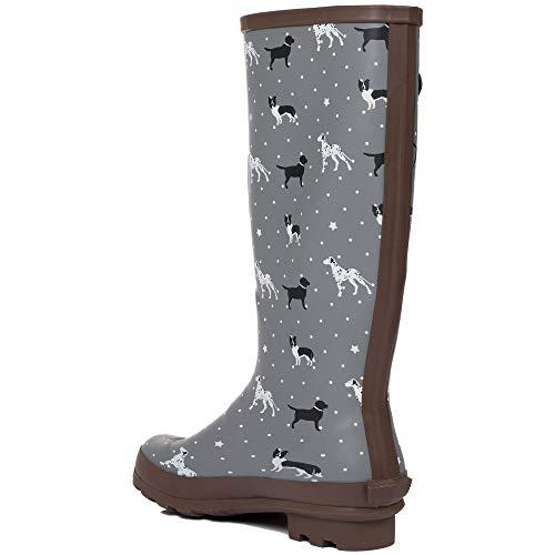 SPY LOVE BUY Adjustable Buckle Flat Festival Wellies Rain Boots Labrador, Dalmation & Border Collie Sz 4