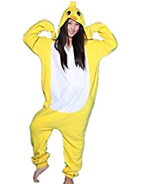 BOMOVO Pijama de una pieza supersuave - Con capucha - Pollo amarillo pequeño - amarillo y blanco