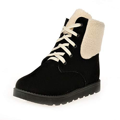 Bazhahei donna scarpa,ragazza stivali da neve lace-up caldo scarpa,invernali/autunno tacchi alti scarpe singole stivaletti flat shoes casual con tacco basso stivale,boots moda da donna