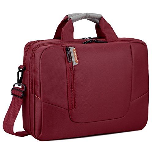 BRINCH 17,3 Zoll Nylon Laptop Tasche Herren Umhängetasche Messenger Bag Aktentasche Businesstasche Arbeitstasche Schultertasche für 17 - 17,3 Zoll Laptop / MacBook / Notebook,Rot Laptop Notebook-rot