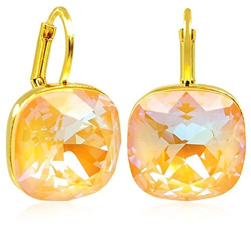 Womens Pfirsich (Ohrringe Gold Pfirsich mit Kristalle von Swarovski® Peach Delite NOBEL SCHMUCK)