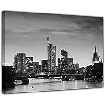 """Kunstdruck mit Winter SALE """"Frankfurt Skyline schwarz weiß - Deutschland bei Nacht - Deutschland"""" Bild auf Leinwand - 50x40 cm - Leinwandbilder - Bilder als Leinwanddruck - Wandbild von Bilderdepot24"""