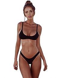 9e707f92aa4 heekpek Tops de Bikini Trajes de Baño Tanga Triángulo Suave Acolchado Tops  y Braguitas Conjuntos Bikinis Bañador…